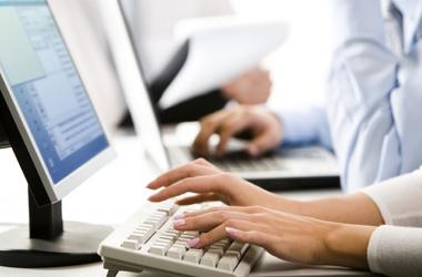 Typing at computer